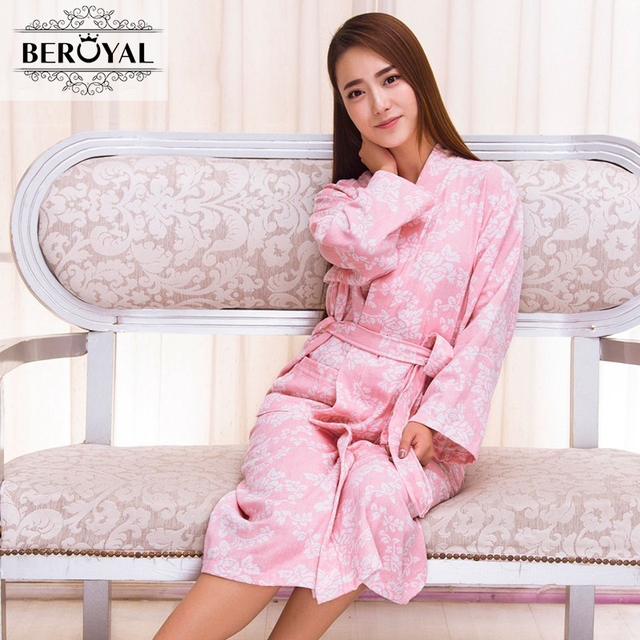 1f40ebd996 2017 100% Muslin Cotton Knit Jacquard Weave Women Bathrobe Spa Robes Female  Long Sleeve Sleepwear Homewear Pyjamas Broyal