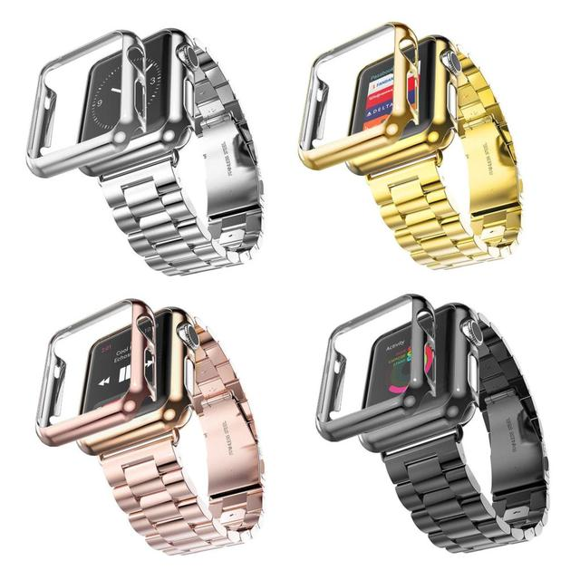 38mm 42mm 3 pontos faixas de relógio de aço inoxidável strap banhado a ouro tampa da caixa de proteção para apple watch pulseira iwatch