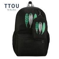 TTOU Kobiety Canvas Plecaki Kobiet Torby Szkolne dla Dziewcząt Plecak Feather Drukowanie Plecak Zestaw Mochila Feminina