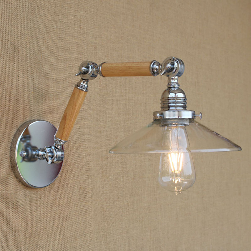 Modern clear glass wood Loft Industrial Cafe Bar Restaurant adjustable vintage Wall Lamps e27 lights for home hallway bedroom