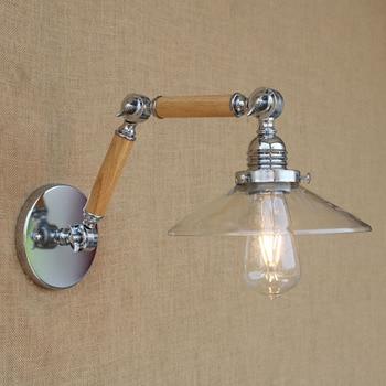 Modern clear glass wood Loft Industrial Cafe Bar Restaurant adjustable vintage Wall Lamps e27 lights for home hallway bedroom