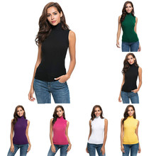 Womens Sleeveless Solid Slim Fit Turtleneck Tee Shirt summer office ladies sexy Top daily modis femme magliette donna#15