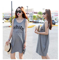 Maternity summer casual letter print modal sleeveless vest loose maternity one-piece dress