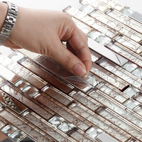 Stainless Steel mix Hand Painted Foil Crystal Glass Mosaic Tile for kitchen backsplash,bathroom wall tile DIY material, SA047