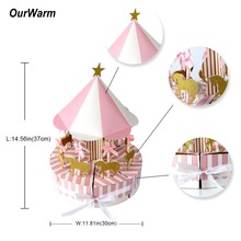OurWarm Boy Girl Birthday Gifts Carousel Candy Box Unicorn Party Favors Pink Blue Bags Baby Shower Wedding Decoration DIY