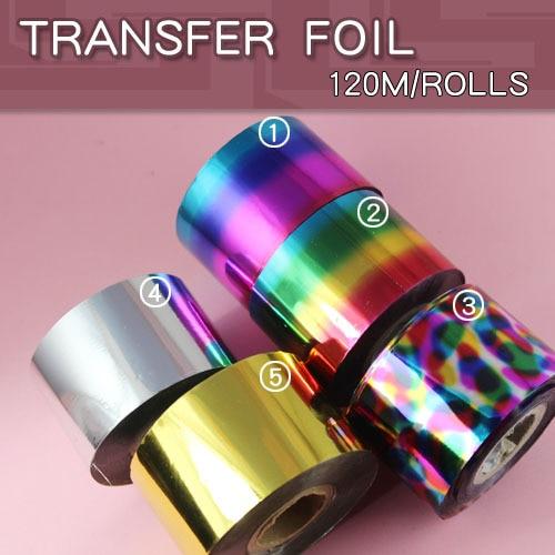1pcs/lot Nail Foil Tape Sticker for Nail Art Decoration 4cm*120m Nail Art Silver Gold Transfer Sticker