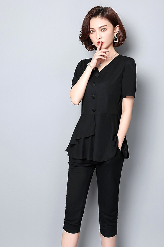 Summer Black Two Piece Sets Women Plus Size Short Sleeve Tops And Cropped Pants Sets Suits Casual Office Elegant Women's Sets 28