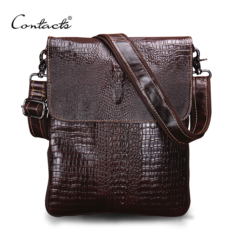 ФОТО CONTACT'S Fashion Designer Genuine Leather Crossbody Bags For Men High Quality Handmade Crocodile Leather Small Shoulder Bag