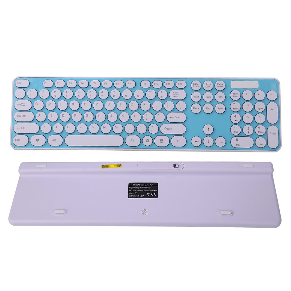 Portable Slim USB 2.4G Wireless Keyboard Mouse Combo 104 Round Keys ...