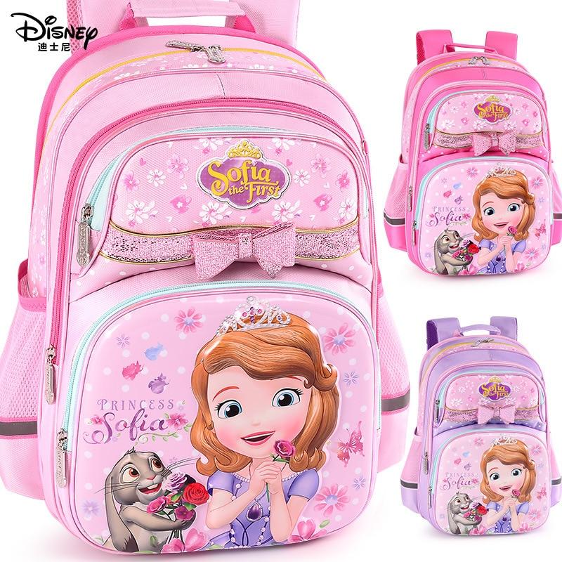 Disney Princess Sofia Waterproof School Book Backpack Cartoon Student Bags Kids Boys New Upgraded Reflective Large Capacity Bag