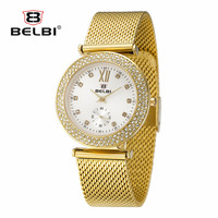BELBI Ladies   Watches   Top Brand Luxury Thin Steel Watchstarp Hodinky Women Diamond Dial Quartz Clock For Women Retro   Dress     Watch