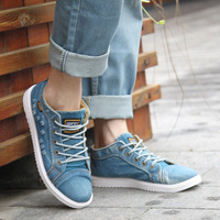 British Style Fashion Vintage Denim Jean Canvas Shoes Men High top Casual Man Ankle Boots Flat Shoes Usual School Boy Footwear