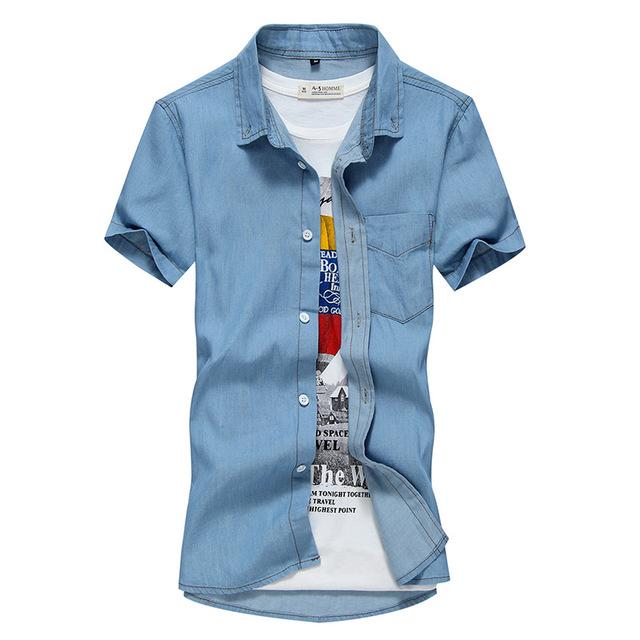 2016 Novo Ocasional Calça Jeans Camisa de Manga Curta Camisa de Brim Dos Homens Slim Fit Cor Sólida Dos Homens