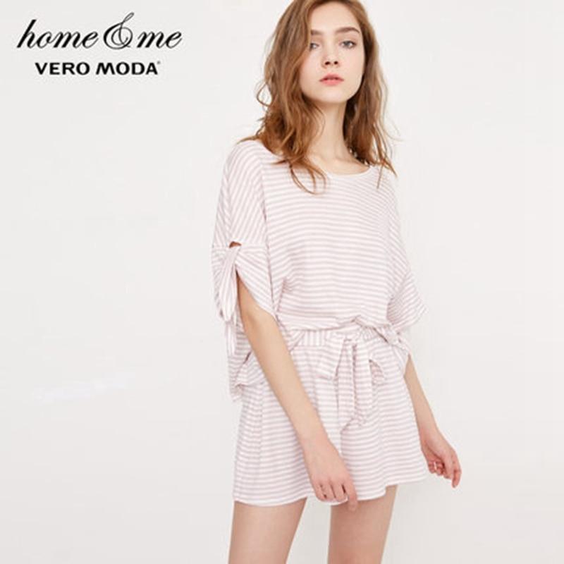 Vero Moda Stripe Elasticized Waistband With Tie Pajama Shorts | 3182PA502