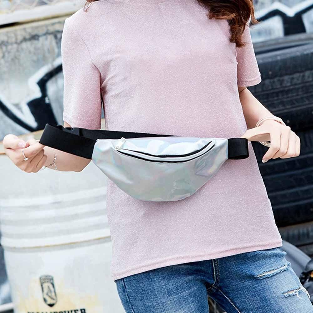 Laser Waist Bags Women Pink Silver Fanny Pack Female Belt Bag Black Geometric Waist Packs Laser Chest Phone Pouch