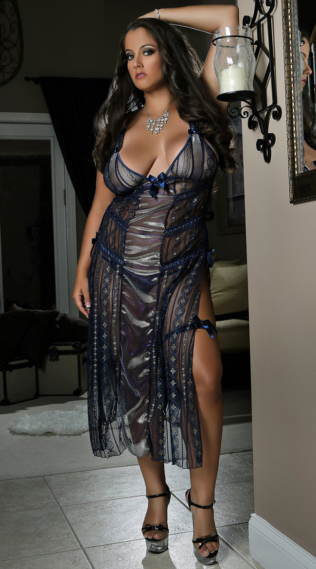 Online Shop High Quality Sexy Plus Size Dress Lingerie Soft Mesh See