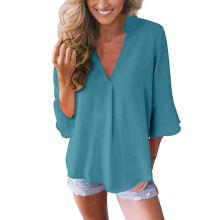chic women blouse cute female ladies new womens v-neck solid loose sexy casual top shirt