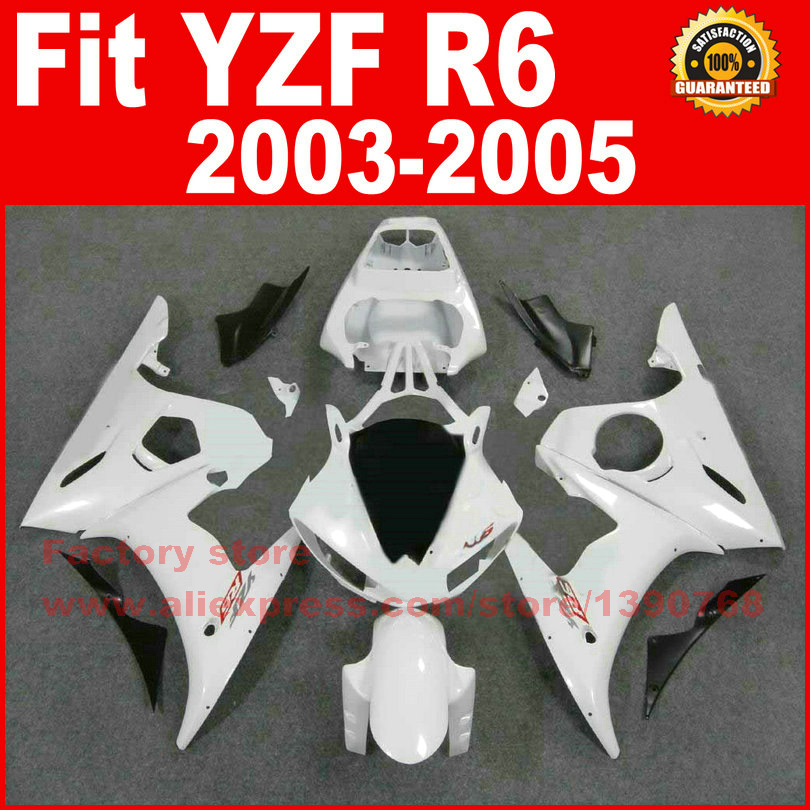 ABS plastic motorcycle fairing kits for YAMAHA 2003 2004 2005 YZFR6 all white YZF R6 03 04 05 fairings kit bodywork parts fzr250r 1986 fairing for yamaha fzr250 full body kits 1987 fzr 250 1988 abs fairing 1986 1989 circular butterfly lamp
