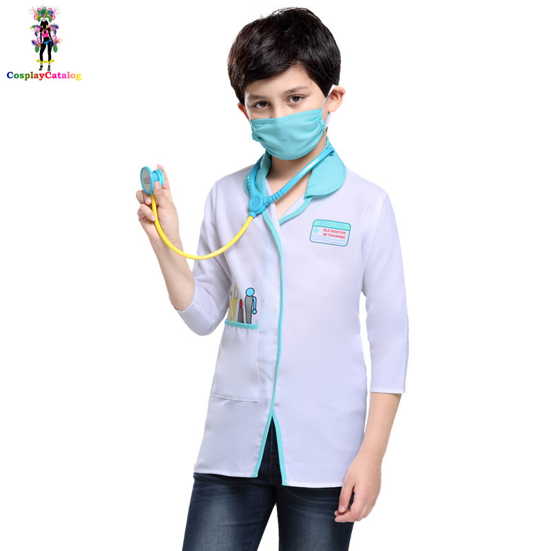3-8 Years Child Experience Doctor Cosplay Clothes ELC Doctor In Training Boys/Girl Costumes Family Health Assistant Uniforms