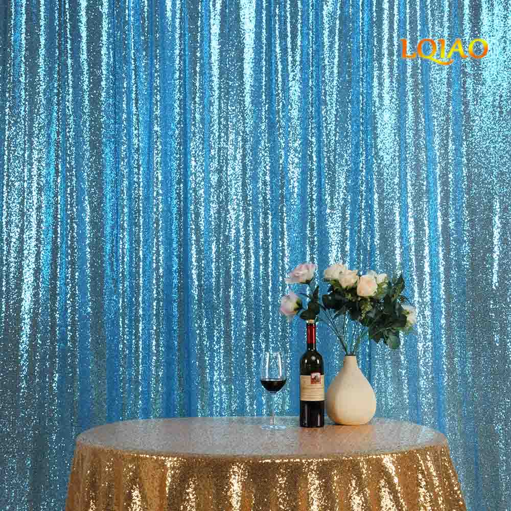 10*10FT TurquoiseShimmer Sequin Fabric Backdrop Sequin Curtains Wedding Photo Booth Photography Backdrops for Party Decoration