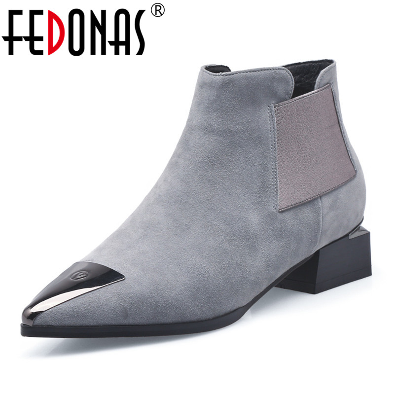 FEDONAS Brand Women Ankle Boots Sexy Metal Toe Autumn Winter Ladies Shoes Woman High Heels Party