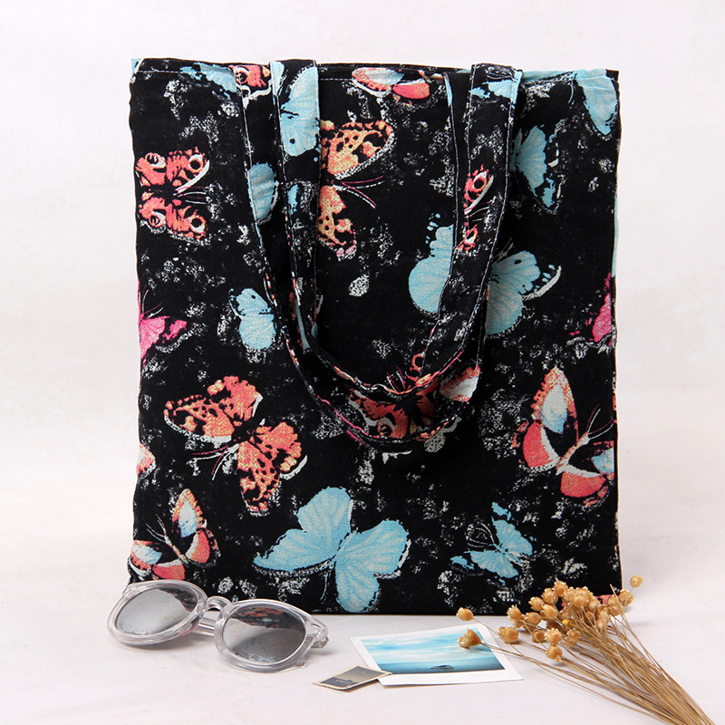 2-Layer Cotton Shopping Bag + Cotton Lining Eco Reusable Tote Butterfly L234 NEW