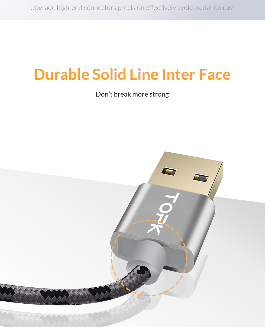 TOPK Micro USB Cable 2.4A Fast Data Sync Charging Cable For Samsung Huawei Xiaomi LG Andriod Microusb Mobile Phone Cables 7