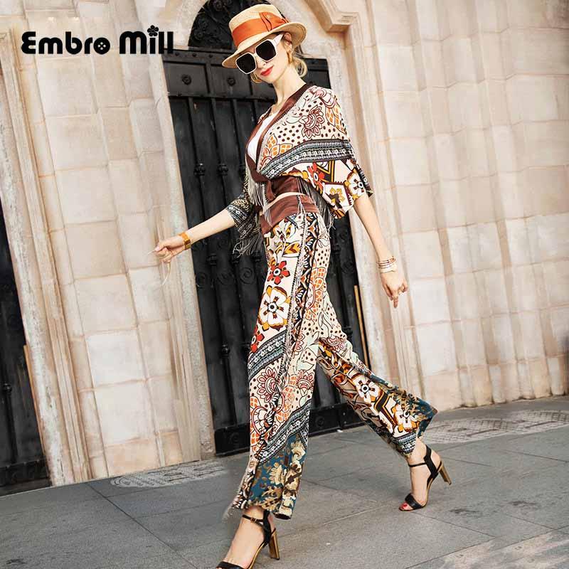Leg-Pants Tassel-Coat Street-Style 2piece-Set Women Printing Summer New The Splice Silk