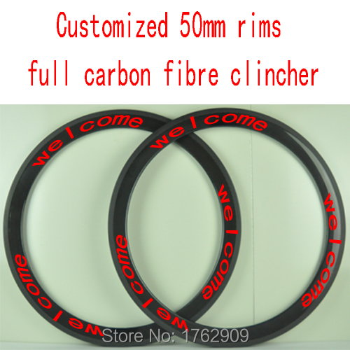 2Pcs New customized 700C 50mm clincher rims Road bicycle 3K UD 12K full carbon fibre bike wheels rims 23 25mm width Free ship carbon aero rims 700c road bike 40 50 56 86 mm depth 27mm width bicycle rims carbon wheels clincher ud glossy matte