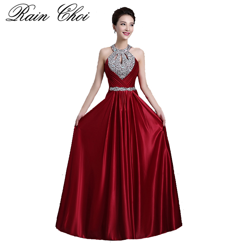 Wine Red   Prom     Dresses   2019 Women Elegant Long Formal Party Gown Sexy Backless Beading Evening   Dresses