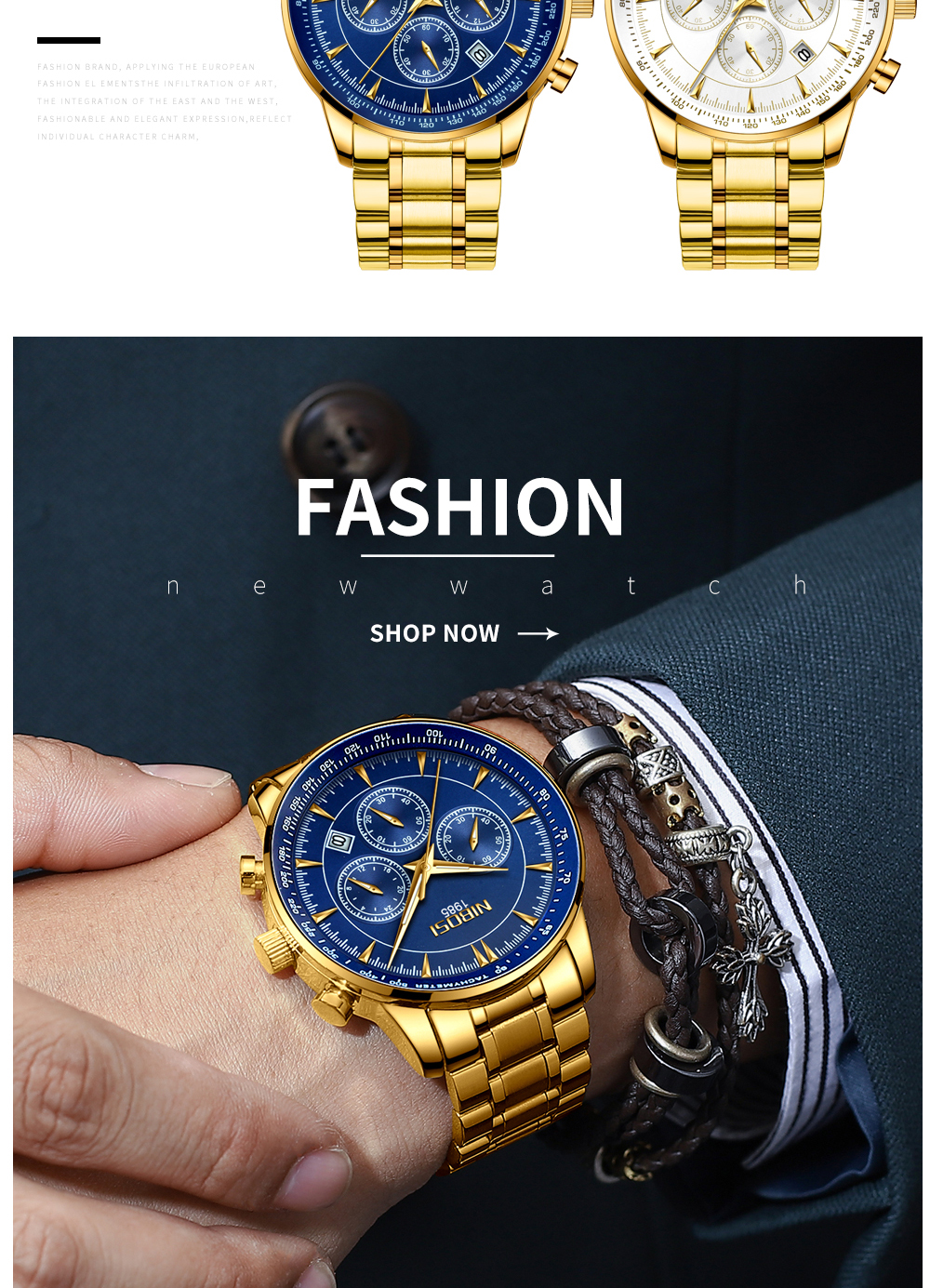 NIBOSI Gold Watch Mens Watches Top Brand Luxury Sport Men's Quartz Clock Waterproof Military Wrist Watch Relogio Masculino Saat 14