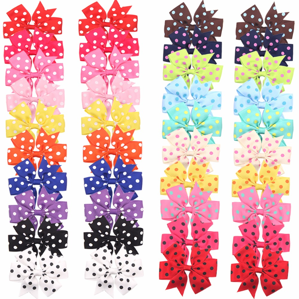 40 Pcs (20 Pairs) Toddlers Baby Girls Clips Polka Dot Grosgrain Ribbon Hair Bows Alligator Hair Clips