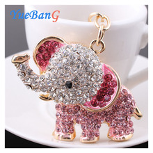 YueBanG Jewelry,Free Shipping,Cute 3D Elephant KeyChains Key Holder Six Color Rhinestone Full Drill Pendant Keyrings For Women.