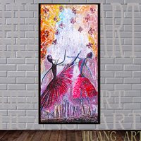 Dance happily wear long gown girl hand painted modern home decoration wall art sexy Oriental girl poster decoration hall
