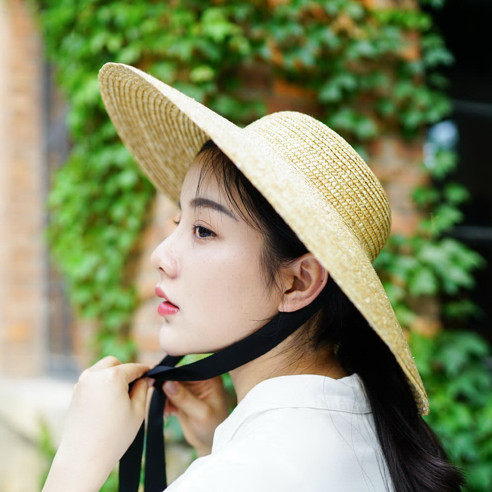Wide Brim Sun Hat for Women Summer Beach Straw Hats for Ladies Vintage Bucket Hats with Ribbon Ties 681025