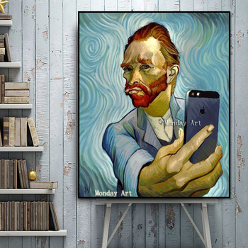 Modern Van Gogh portrait art professional aritist hand painted Van Gogh brainwash art wall art pictures for bedroom decoration