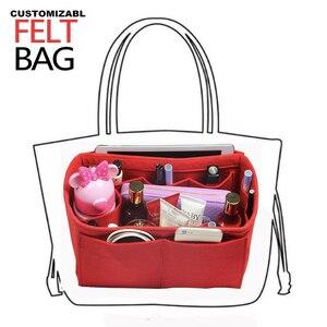 [Keepall 45 50 55 60] Felt Tote Organizer (w/ Milk Water Bottle Holder)Purse Insert Bag in Bag Cosmetic Makeup Diaper Handbag