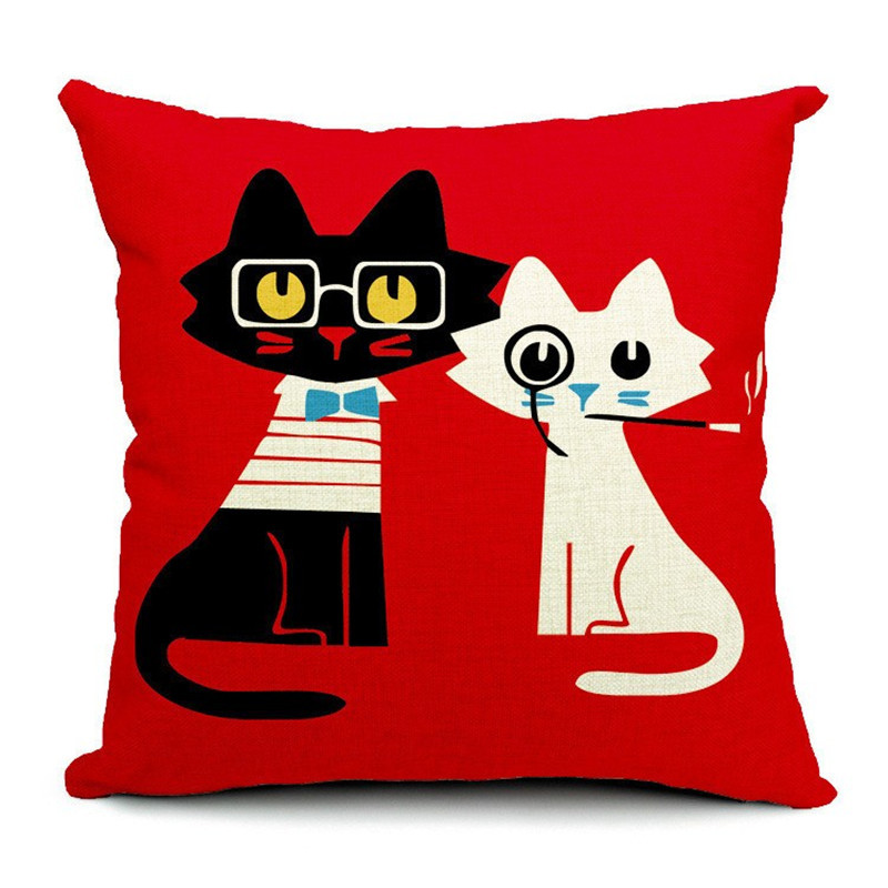 Cartoon Red Cat Wear Glasses Pillowcase Cushion Cover Throw Pillowcase Sofa Seat For Car Wrist Seat Home Decorative F