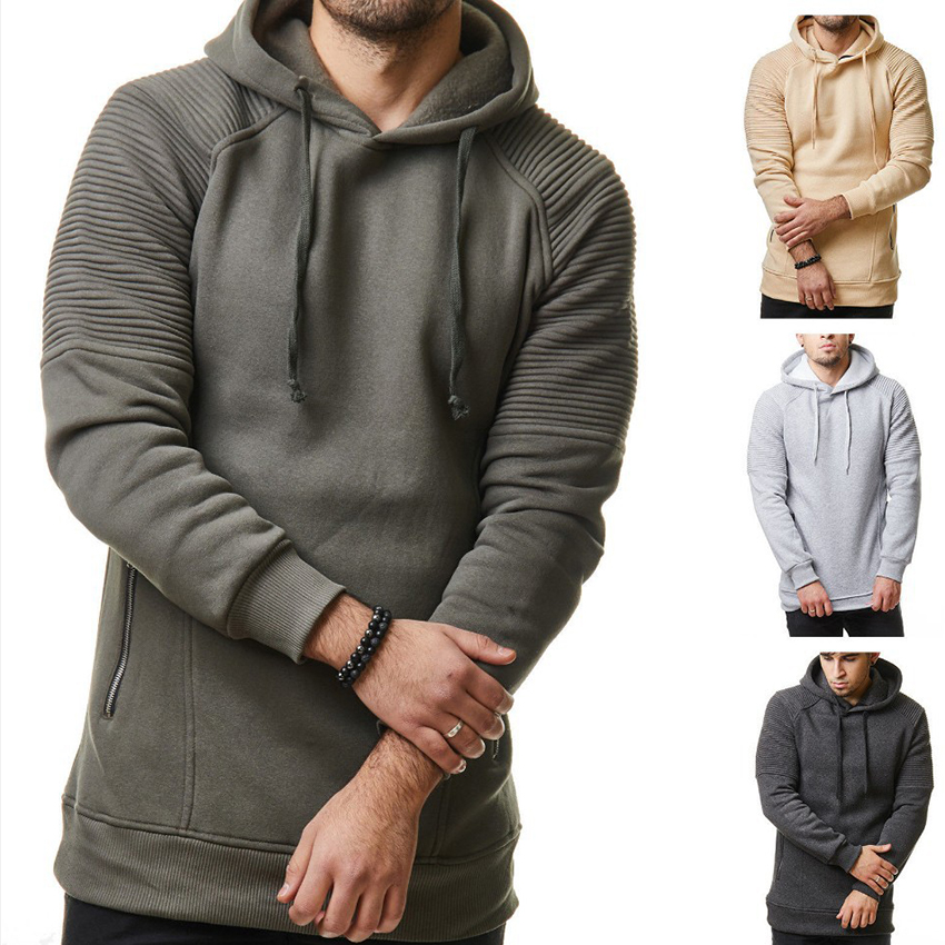 Men Pleated Sleeve Brand Design Streetwear Hoodies Hip hip Hooded Sweatshirts Men Zipper Hoodie Slim Fashion Hoodies Men Homme