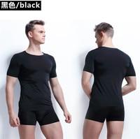 Новое прибытие Лето Для мужчин Повседневное молочного шелка футболка и боксер набор Для мужчин S высокие эластичные мужской тонкий предлаг...