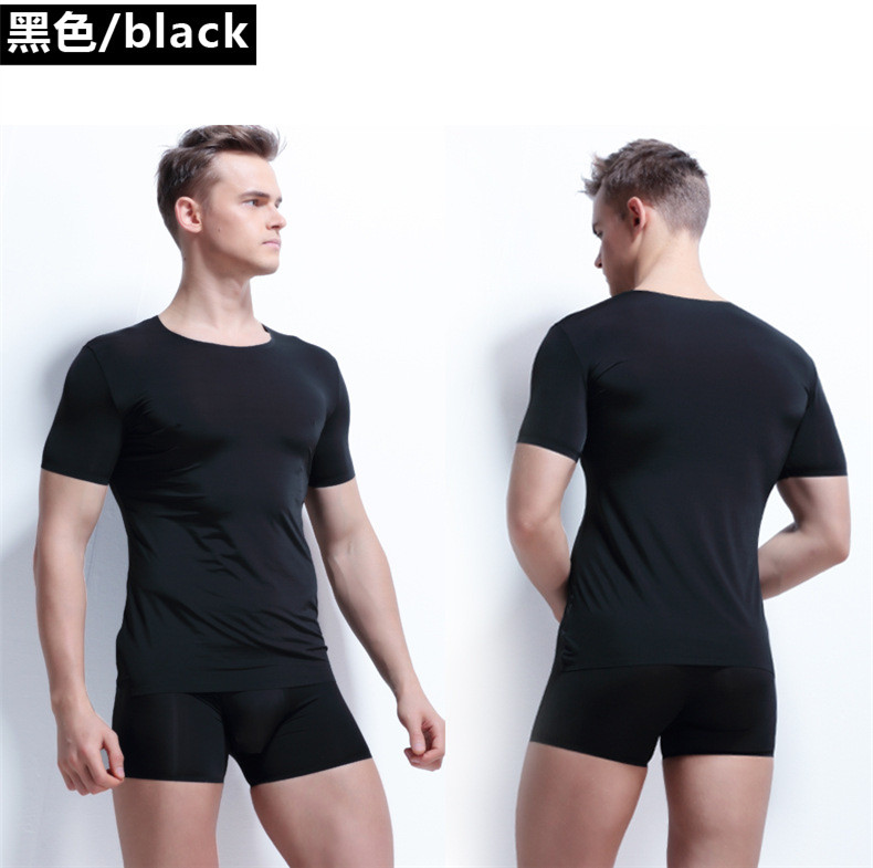 New arrival Summer Men Casual Milk Silk T shirt and Boxer Set Mens High Elastic Male Slim Trackless underwear Set Homewear 427