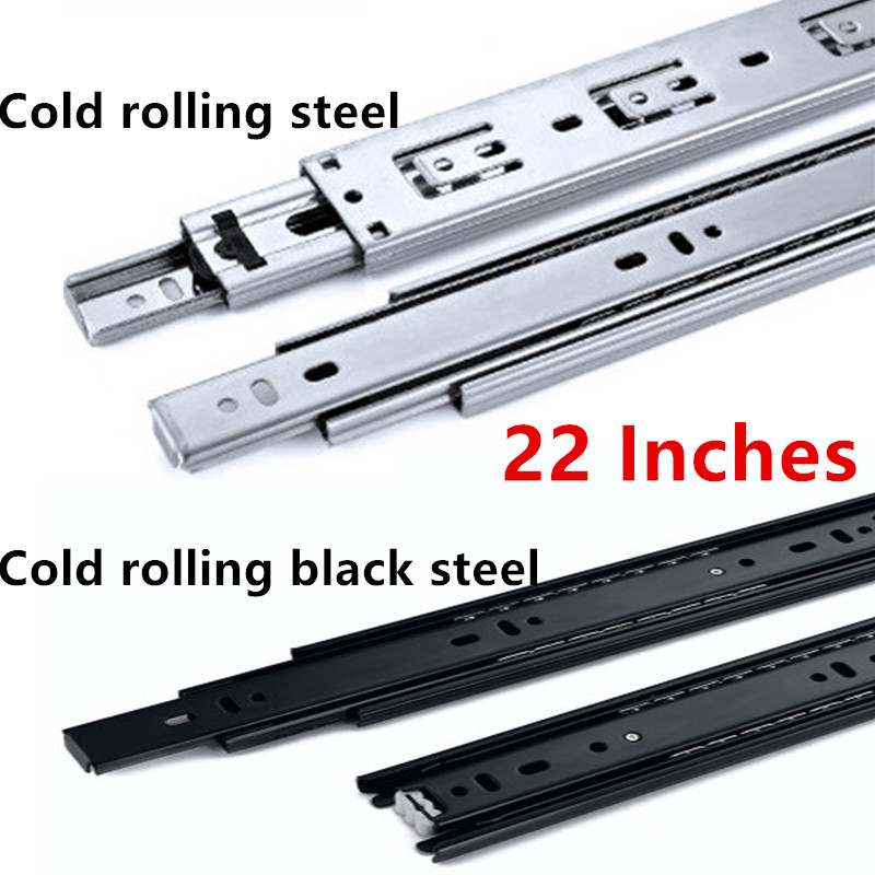 22 Inches Cold rolling steel Drawer slide rail three section wardrobe ball slide rail track hardware fittings black hydraulic buffered rail track three drawer slide drawer slide ball bearing slide rail damping
