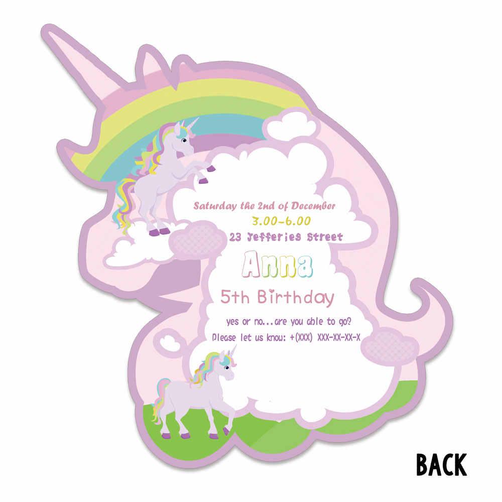 Rainbow Unicorn Theme Invitations Card Unicorn Birthday Party Supplies Birthday Party Decorations Kids Event Birthday Invitation