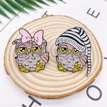 Cartoon Animal Bird Enamel Brooch Owl Pink Bow Hat Alloy Badge Denim Shirt Bag Pin Accessories Jewelry Gifts For Friends creative personality gestures alloy brooch enamel pin mini badge bag clothes jewelry gifts to friends fxm