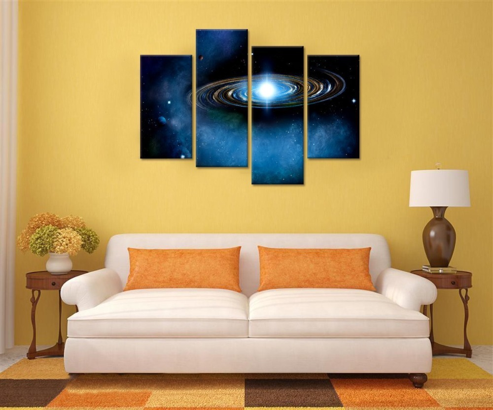 Blue Starry Canvas Wall Art Prints Outer Space Planet Canvas Picture ...