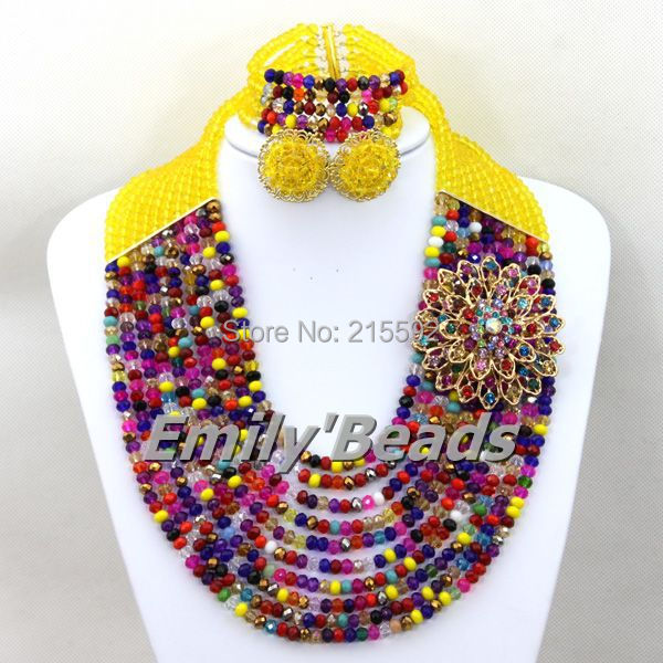 2016 Multi Color Necklace Jewelry Set Crystal Beads Nigerian Wedding African Costume Jewelry Set Fashion Free