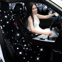 Top Crystals Flower Plush Car Seat Cushion For Women Winter Universal Rhinestone Auto Seat Covers 10pcs