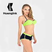 2017 bandage Bikini Swimwear Swimsuit Women Sexy Padded Biquinis Set Swimsuit Lady Bathing Push Up Cute Bow Swimming Suit 1551