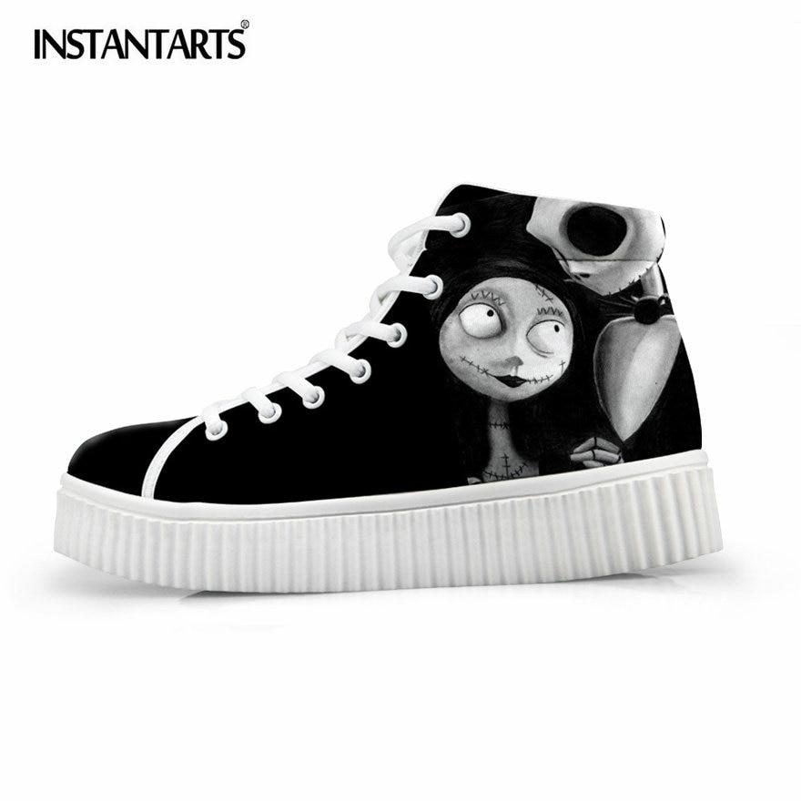 INSTANTARTS femmes haut hauteur augmentant chaussures plates noir Punk crâne plate-forme chaussures décontracté chaussures plates Zapatos Mujer