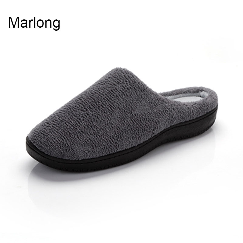 7df8272d4fd5ce Marlong Winter Warm Indoor Slipper Women Men Wool-Like Plush Fleece Memory  Foam House Slippers,Anti-Skid Shoes Indoor/Outdoor